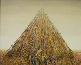 Building of the pyramid. 1998y. Canvas, oil. 50х60 cm.