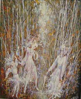 Walks on autumn wood. 2002y. Canvas, oil. 55х43 cm.