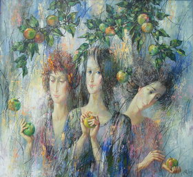 Three graces. 2004y. Canvas, oil. 80х88 cm.