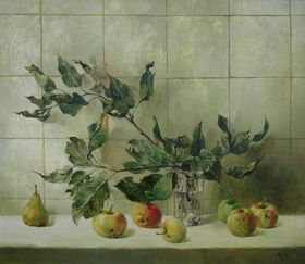 Still life with apple branch. 2006y. Canvas, oil. 60х70 cm.