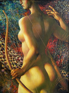 Diana-hunts. 2006y. Canvas, oil. 75х56 cm.