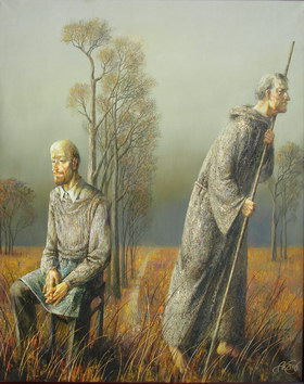 Artist and pilgrim. 2006y Canvas, oil. 100х80 cm.