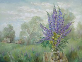 Lupine flowering. 2012. Canvas,oil. 70x90 cm.