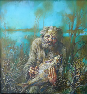 The old man and fish. 2011. Canvas,oil. 50x50 cm.