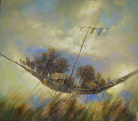 The Boat Of My Childhood 2009 г. Canvas, oil. 81x91 cm.